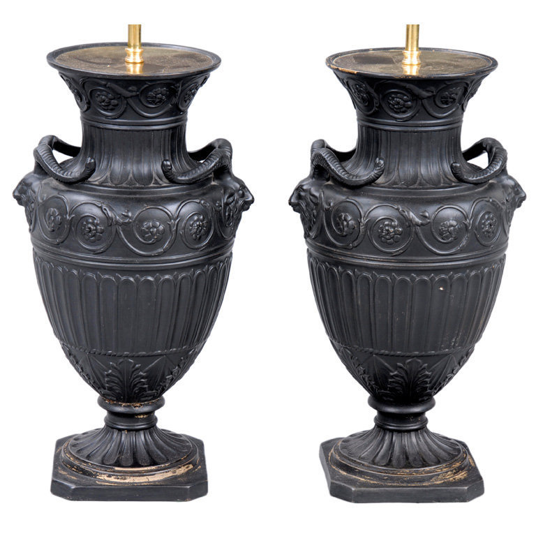 1STDIBS.COM - Susan Silver Antiques - English Pair Adam Style Lamps