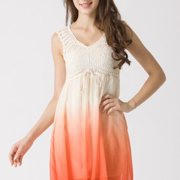 Orange Gradient Dress with Crochet Bodice