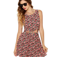 Lucca Couture Dress - Pink Dress - Floral Print Dress - $66.00
