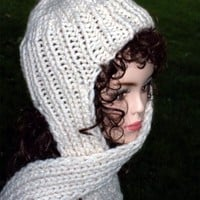 Hand Knit Hat With Attached Scarf Women