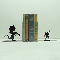 Dragon &amp; Knight Bookends - Free USA Shipping
