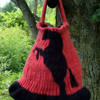 Hand Knit Felted Bag - Horse Design