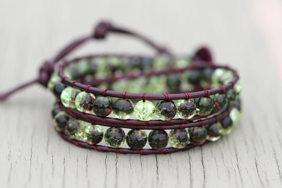 Leather Wrap Bracelet : Twilight Forest. Olivine and Amethyst Leather Bohemian Wrap Bracelet with Crackle Beads - Friendship Bracelet