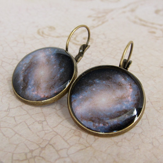 Space Earrings, Galaxy Earrings, Astronomy Earrings, NASA Earrings, Geeky Earrings, Leverback Earrings