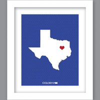Sale 25% Off - Print State Texas Heart (8X10)