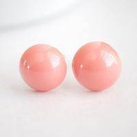 Pink Stud Earrings. Peach Post Earrings. Coral Round Earrings