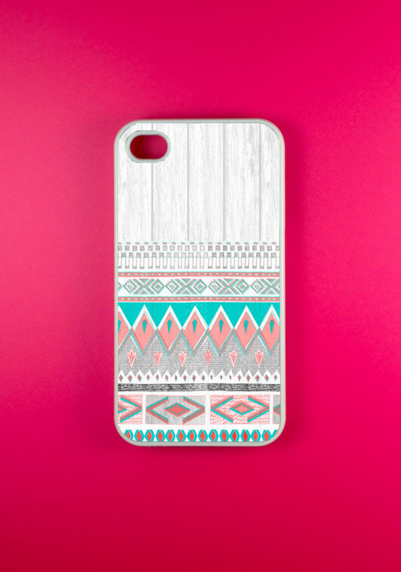 Aztec Iphone 4 Case - Aztec on White Wood Iphone 4s Case, Iphone Case