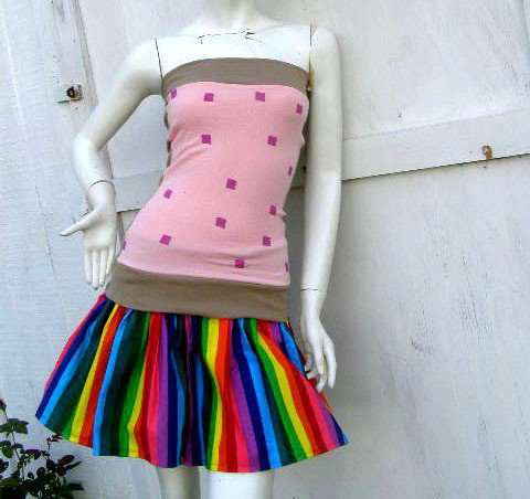NYAN CAT PopTart Shirt skirt Set S-1X costume MeMe kawaii Cosplay