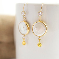 Pearl Earrings - Bridal Jewelry - Bezel Set Earrings