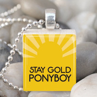 Scrabble Tile Pendant Stay Gold Ponyboy Pendant Outsiders Necklace With Silver Ball Chain (A963)