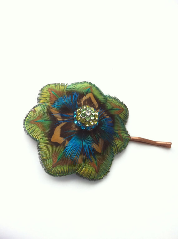 Peacock feather flower bobby pin with rhinestones