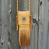 Smartphone crossbody bag  Leather smartphone bag Fringed iphone purse