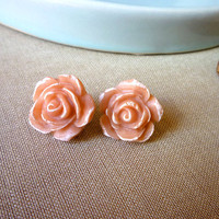 Rose Post Earrings - Nude Pink Earrings