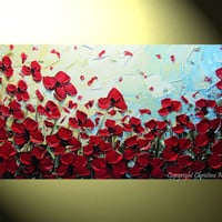 "Original Abstract Textured Red Poppies Painting, Flowers, Palette Knife, Poppy Blossoms Modern Red Blue Gold 24x48"" -Christine"