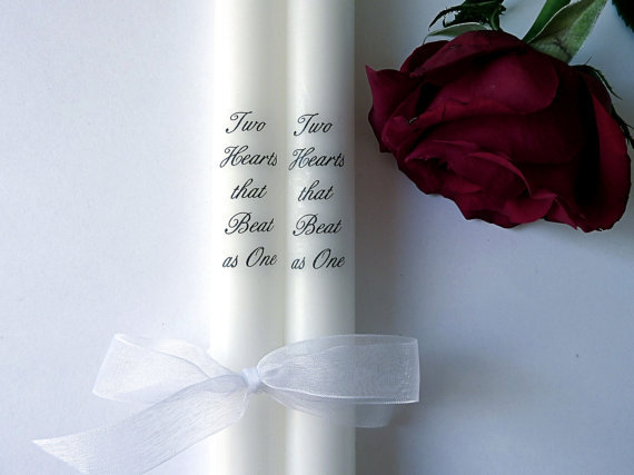 Two Hearts That Beat As One - White Taper Candles