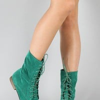 Breckelle Sandy-72 Lace Up Ankle Bootie