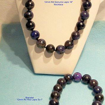 Afghanistan Genuine Lapis Lazuli Gemstone Necklace, Bracelet Jewelry Set
