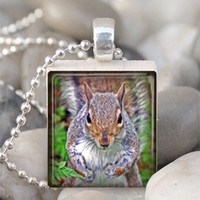 Scrabble Tile Pendant Squirrel Pendant Squirrel Necklace Resin Pendant With Silver Ball Chain (A2315)