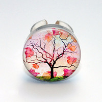 Round Glass Bezel Photo Art Ring Tree Adjustable Tree Ring (A3531R)