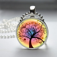 Round Glass Bezel Pendant Tree Pendant Tree Necklace Photo Pendant Art Pendant With Silver Ball Chain (A3532)
