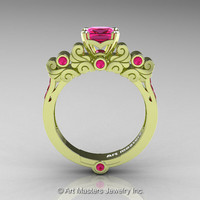 Classic Armenian 18K Green Gold 1.0 Ct Princess Pink Sapphire Solitaire Wedding Ring R608-18KGGPS