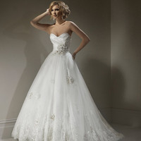 2011 Maggie Sottero Bridal - Ivory &amp; Pewter Organza &amp; Lace Floral Strapless Isadora Marie Wedding Gown - 0 - 28 - Unique Vintage - Bridesmaid &amp; Wedding Dresses