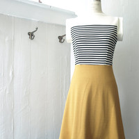 Spring Sale FREE SHIPPING Mustard stripes nautical boat neck dress SIZE Small