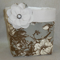 Beautiful Gray, Brown and Cream Fabric Basket With Detachable Fabric Flower Pin