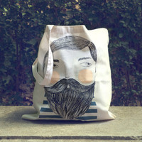 Bearded - screen printed canvas Tote bag