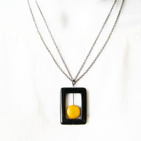 Black Onyx Jewelry - Geometric Necklace, Modern Stone Jewellery, Mustard Yellow Tagua Nut, Contemporary