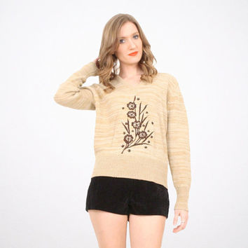 Vintage Hippie Sweater Space Dye Knit Tan Brown Oatmeal Natural Embroidered Pullover V Neck 1970s 70s Sweater Boho Floral Jumper M Medium