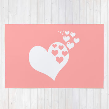Coral White Hearts of Love Area & Throw Rug by BeautifulHomes
