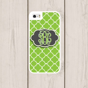Lime Quatrefoil Personalized Phone Case, Monogram, Custom IPhone 4  4s, IPhone 5 5s 5c, Samsung Galaxy S3 S4 S5