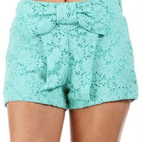 Mint Bow Front Lace Shorts