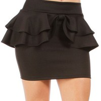 Black Double Peplum Skirt