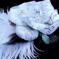script rose ostrich feather fascinator writer wedding goth