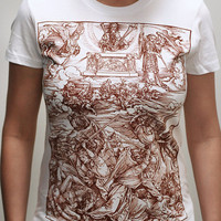 Albrecht Durer - Battle of Angels - American Apparel Womens T-Shirt ( Albrecht Durer t shirt )