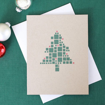 Christmas Card // Pixel Christmas Tree // Holiday Note Card // Merry Christmas