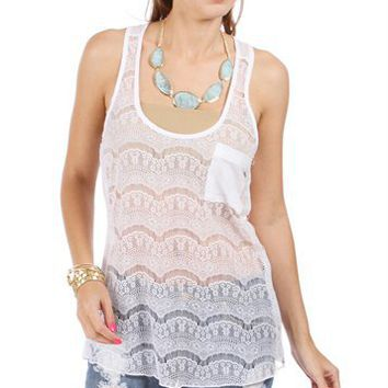 White Crochet Racer Back Top With Pocket