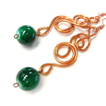 Green Copper Earrings Wire Jewelry Long Dangle Earrings