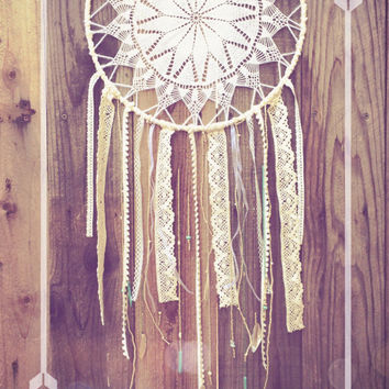 Boho Shabby Chic Amethyst, Turquoise, & Gold Crochet Doily Lace Beaded Dreamcatcher