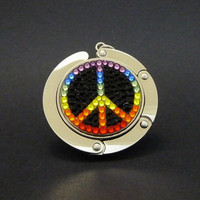 Peace foldable bag hanger made with Swarovski flatback crystals - Rainbow