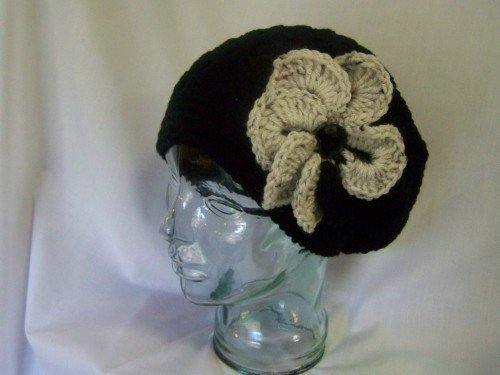 Crochet Shelly Shell Slouchy Beanie Black - Handmade Crochet Hat Slouchy Beanie Crochet Tam Crochet Beret for Winter Fall Women Teen Gift