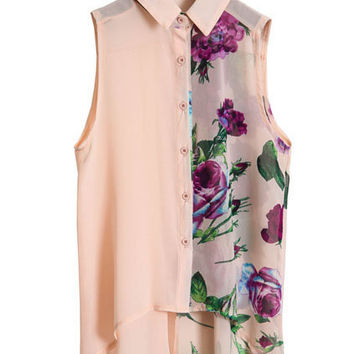 Flower Printed Pink Chiffon Shirt