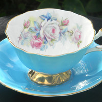 Victoria C & E Chelsea Teacup and Saucer Silver Shimmer - Made in England 1209