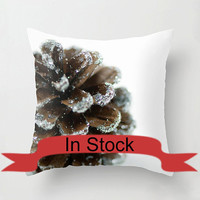 """Brown 16"""" Christmas Pillow Cover Decorative Throw Cushion Cover Holiday Pine Cone White Brown Festive Decor Handmade Cotton Zippered Cover"""