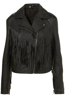 Fringed Leather Biker Jacket - New In This Week  - New In