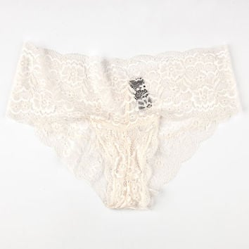 Lace Attire Boyshorts Ivory  In Sizes