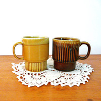 vintage mugs, retro kitchen, mid century mug, coffee cups, mug set  //  caramel, tan, brown, neutral, earthy, japan, kitchenware, ceramics
