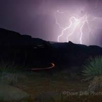 Photography - Desert Lightening Cactus Drama - 13 x 19 Fine Art Matted